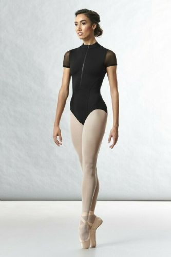 BLOCH Ladies Dance Zip Front High Neck Mesh Cap Sleeve Leotard L8732 Gwenn